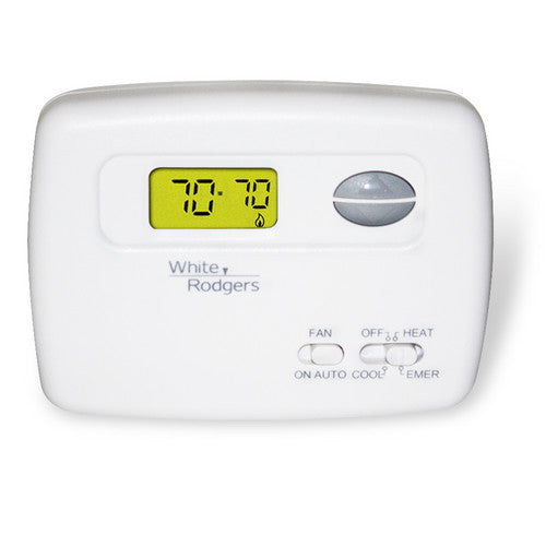 White Rodgers Non-Programmable Thermostat, Backlit Display, 24 Volts, Horizontal 1F79-111