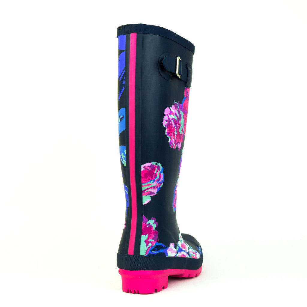 Joules Tall Navy Pattern Welly