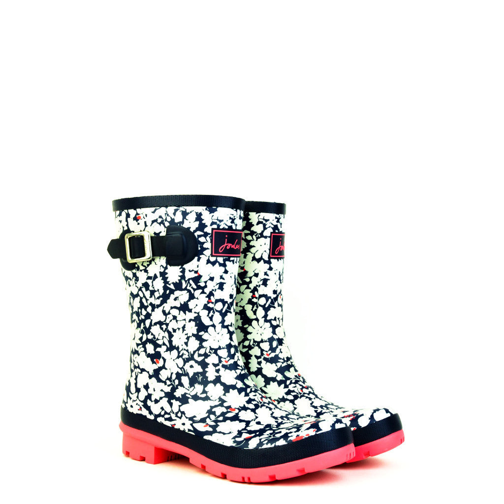 Joules Molly Mid-Height Navy Pattern Welly