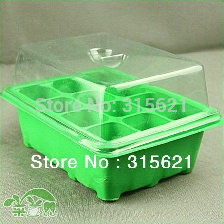 2 sets Green 12 Holes Nursery Trays & Lids 3 Parts per Set Home Garden Succulent  Seed Germinating Warm Nursery Trays 19*15*11cm