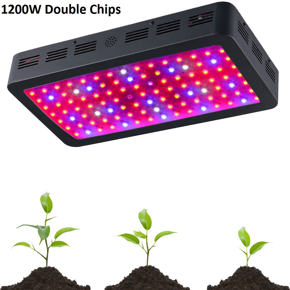 BOSSLED 1200W Black Double Chips LED Grow Light Full Spectrum 410-730nm For Indoor Plants and Flower Phrase Very High Yield