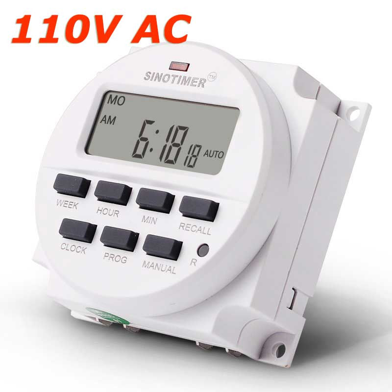 15.98 Inch BIG LCD 220V AC 7 Days Weekly Programmable Timer Switch Time Relay Built-in Rechargeable Battery for Lights Control