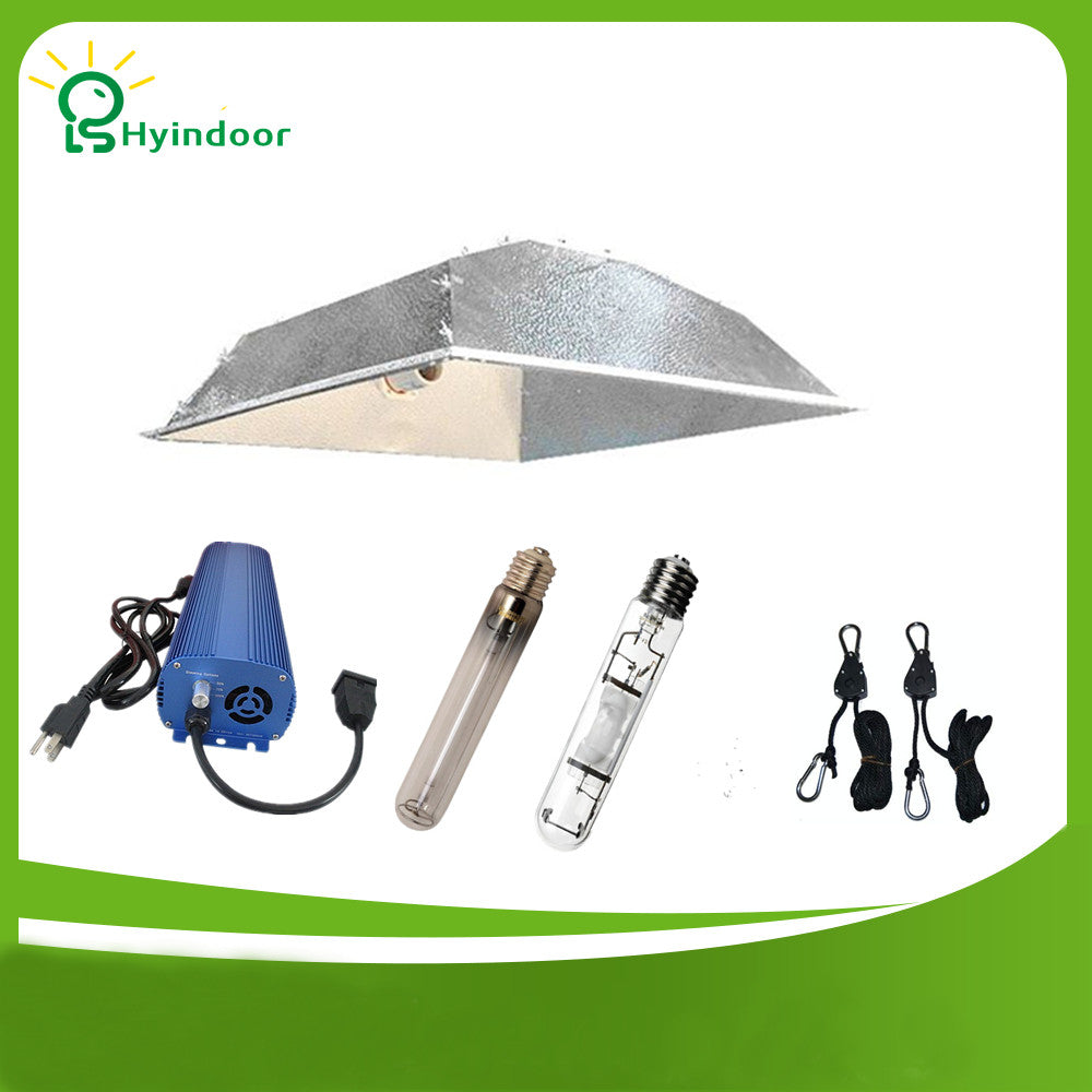 Free Shipping 250W 400W 600W 1000W Grow Light System with Large size Square Simple lamp shade
