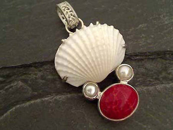 Coral, Shell, Sterling Silver Pendant