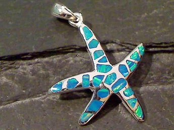 Created Opal, Sterling Silver Starfish Pendant