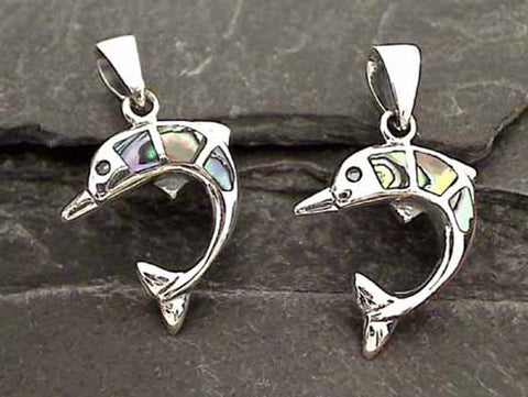 Abalone, Sterling Silver Dolphin Pendant