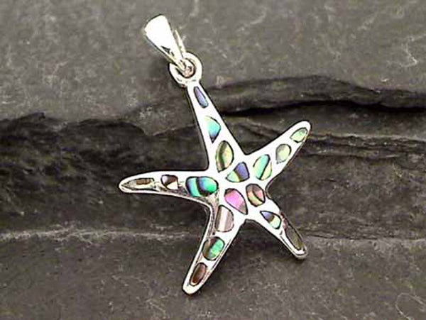 Abalone, Sterling Silver Starfish Pendant