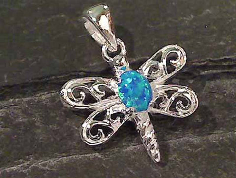 Created Opal, .925 Dragonfly Pendant