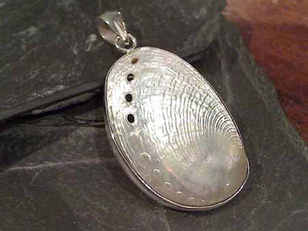 Abalone Shell, .950 Fine Sterling Silver Pendant