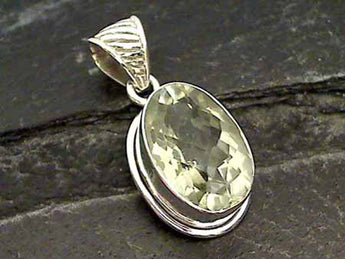 Green Amethyst, Sterling Silver Pendant