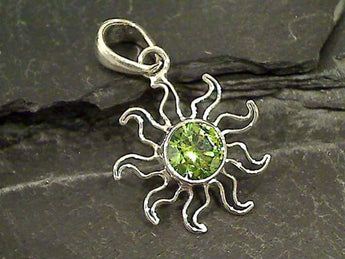 Synthetic Peridot Sun Pendant, Fine Sterling