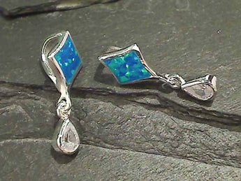 Created Opal, CZ, Sterling Silver Pendant