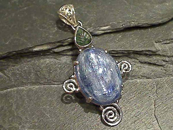 Kyanite, Green Tourmaline Sterling Silver Pendant