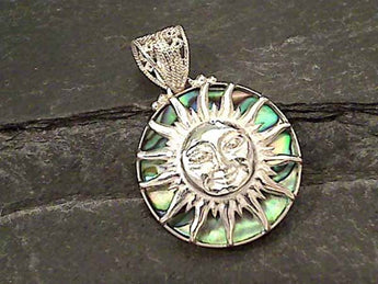 Abalone, Sterling Silver Sun Pendant