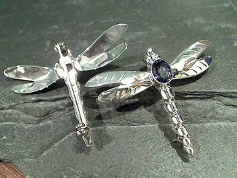Blue Quartz, Sterling Dragonfly Pendant/Pin