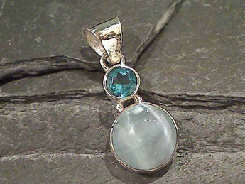 Selenite, Blue Topaz Sterling Silver Pendant