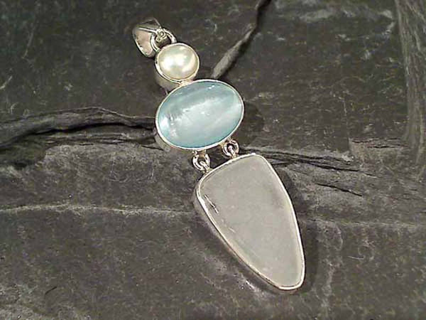 Selenite, Pearl, Sea Glass, .925 Pendant