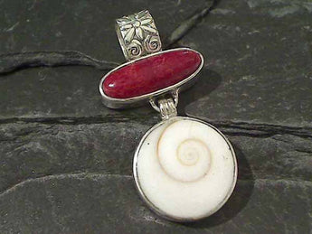 Coral, Shiva's Eye Shell, Sterling Silver Pendant