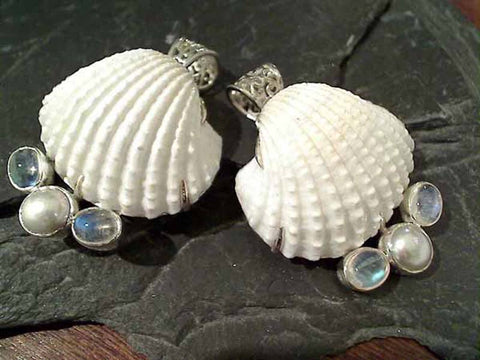 Shell, Moonstone, Pearl, Sterling Silver Pendant