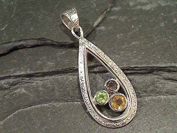 Citrine, Peridot, Smokey Quartz, Sterling Pendant