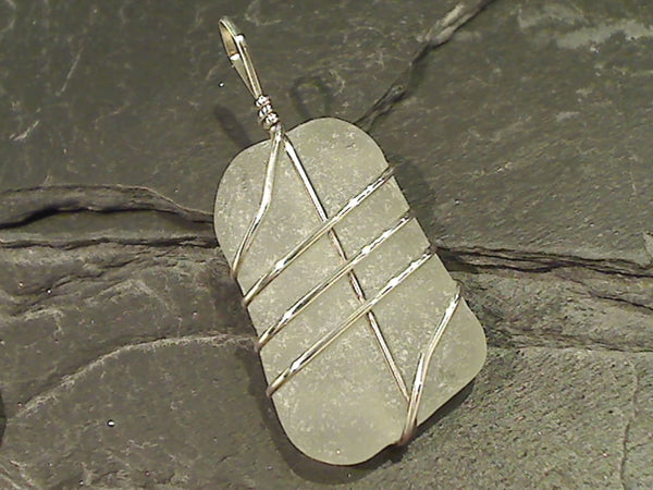 OBX Sea Glass Pendant, Sterling Silver