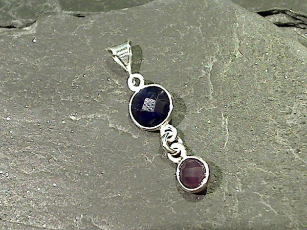 Sapphire, Amethyst, Sterling Silver Pendant