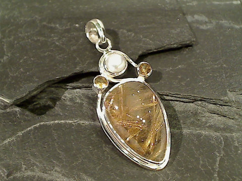 Rutilated Quartz, Pearl, Citrine, Sterling Pendant