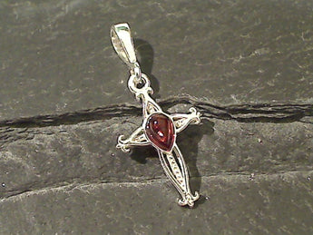 Amber, Sterling Silver Small Cross Pendant