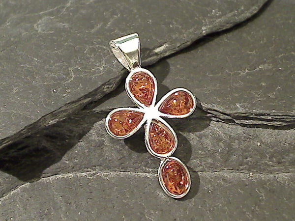 Amber, Sterling Silver Cross Pendant
