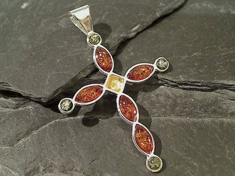 Amber, Sterling Silver Large Cross Pendant