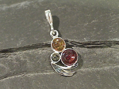 Amber, Sterling Silver Small Pendant