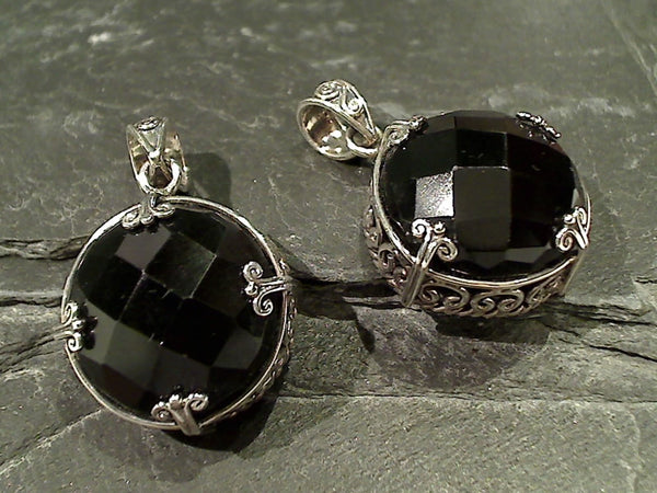 Black Onyx, Sterling Silver Pendant