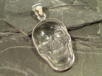 Quartz, Fine Sterling Larger Skull Pendant