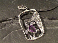 Amethyst, Sterling Silver Mermaid Pendant