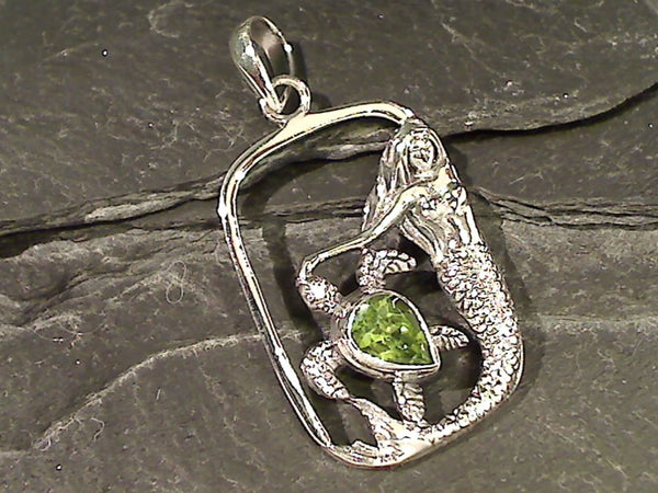 Peridot, Sterling Silver Mermaid Pendant