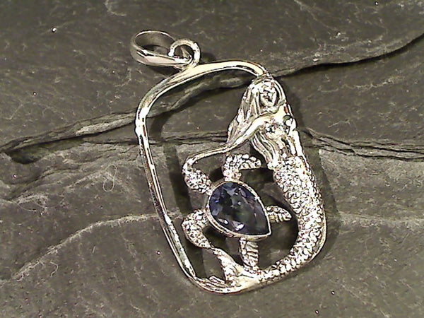 Blue Quartz, Sterling Silver Mermaid Pendant