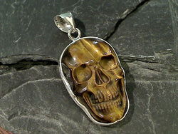 Tiger's Eye, Fine Sterling Skull Pendant