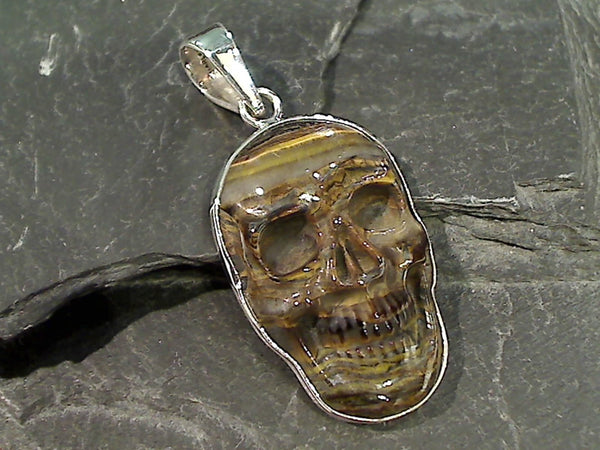 Tiger Iron, Fine Sterling Skull Pendant