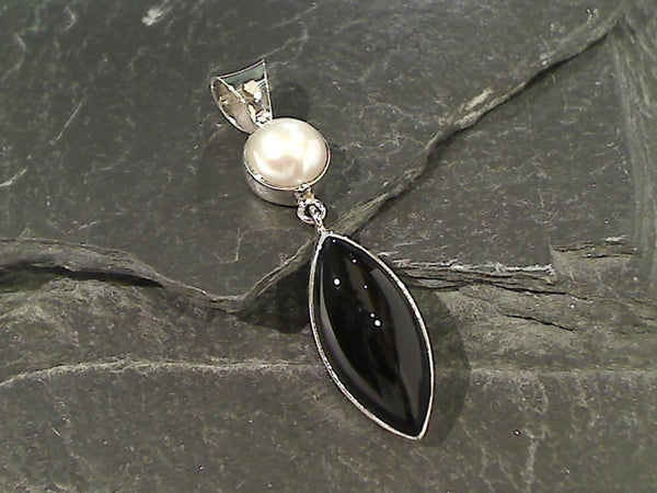 Onyx, Pearl, Sterling Silver Pendant