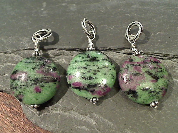 Ruby in Zoisite, Sterling Silver Pendant