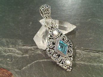 Blue Topaz, Pearl, Sterling Silver Pendant