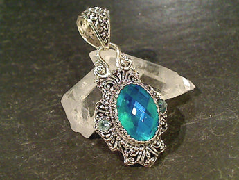 Rainbow Carribean Quartz, Blue Topaz, Pendant