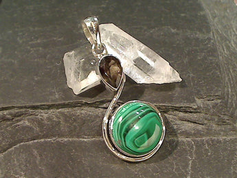 Malachite, Smokey Quartz, Sterling Silver Pendant
