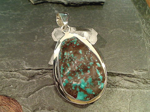 Turquoise, Fine Sterling Silver Large Pendant