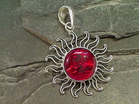 Red Abalone, .950 Fine Sterling Sun Pendant