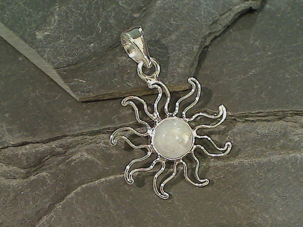 Moonstone Sun Pendant, Fine Sterling, 10mm Stone
