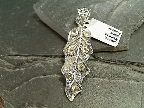 Citrine, Sterling Silver Feather Pendant