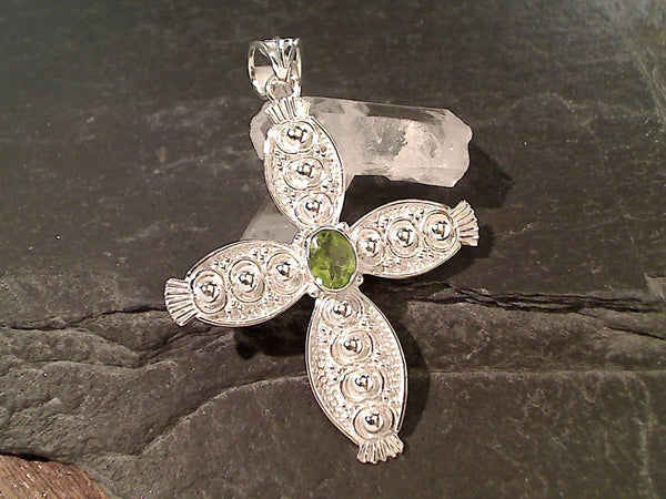 Peridot, Sterling Silver Cross Pendant