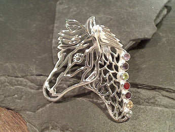 Chakra Stones Horse, Sterling Silver Pendant