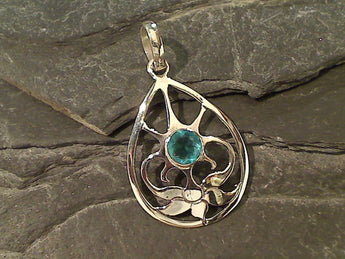 Swiss Blue Quartz, Sterling Silver Pendant